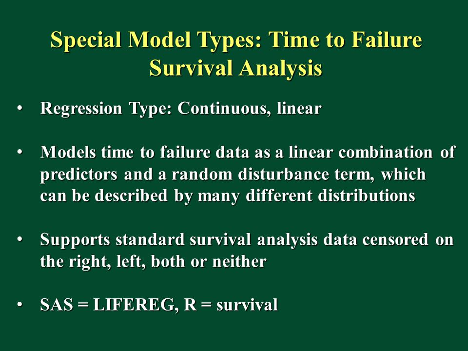 Special Model Types: Time to Failure Survival Analysis
