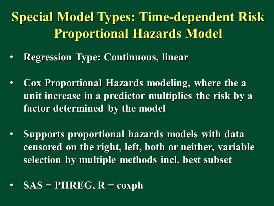 Special Model Types: Time-dependent Risk Proportional Hazards Model