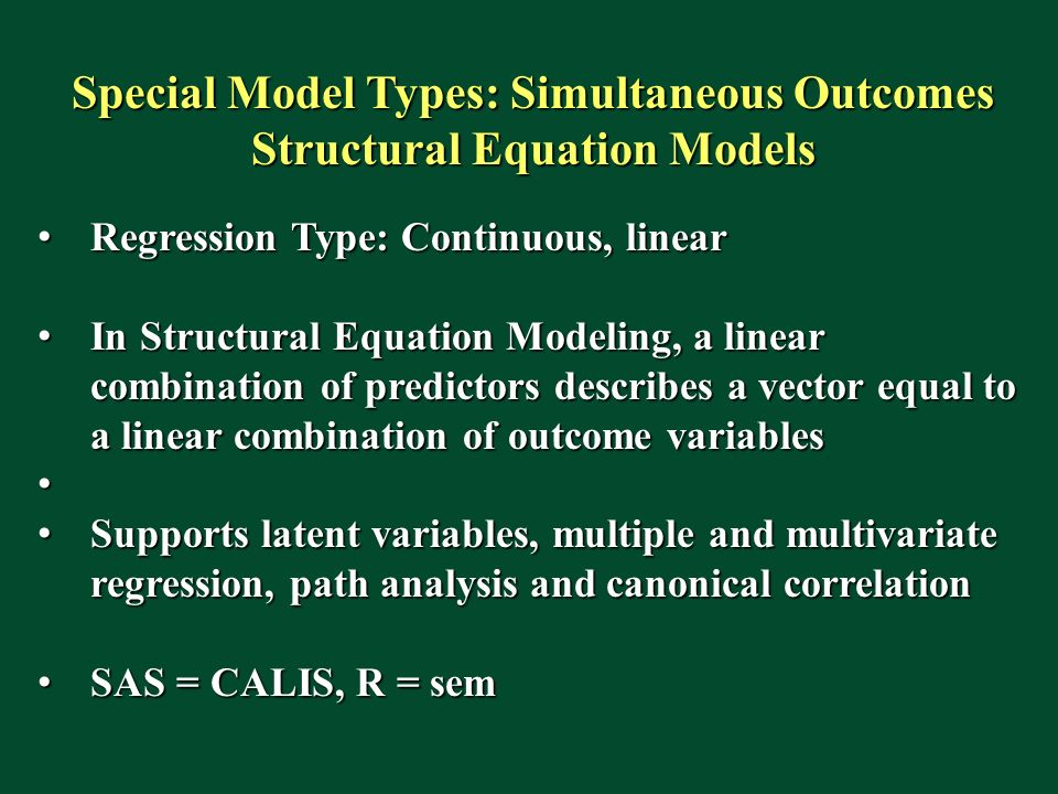 Special Model Types: Simultaneous Outcomes Structural Equation Models