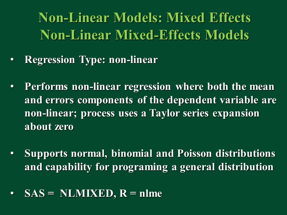 Non-Linear Models: Mixed Effects Non-Linear Mixed-Effects Models