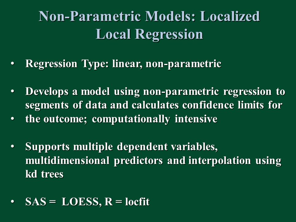 Non-Parametric Models: Localized