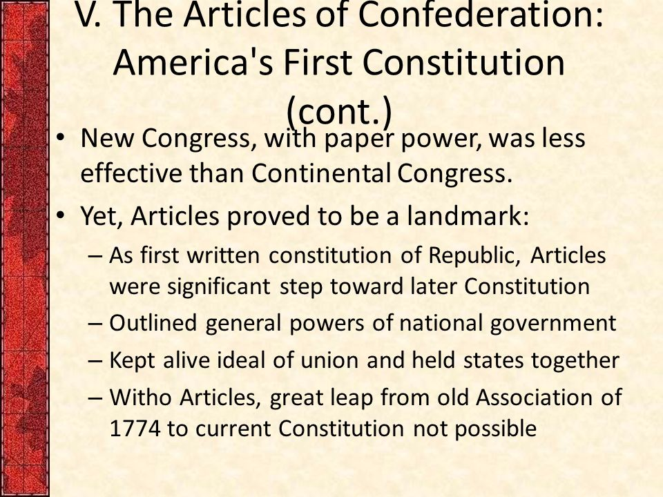 us constitution vs articles of confederation essay Read this american history essay and over 88,000 other research documents us constitution vs the articles of confederation united states constitution vs articles of confederation the move from the articles of confederation to the united states constitution.
