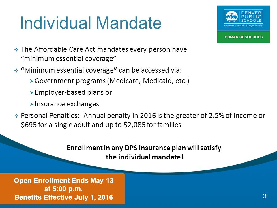 Your health your way dps benefits open enrollment ppt - Minimum essential coverage plan design ...