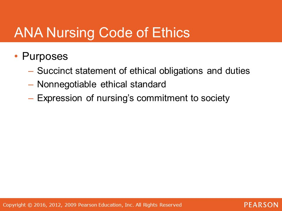 ana ethics code Nursing ethics is a branch of applied ethics that concerns itself with activities in  the field of  and this is an important principle in many nursing ethical codes.