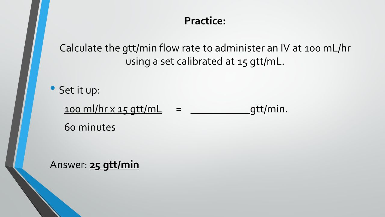 how to set up an iv drip rate