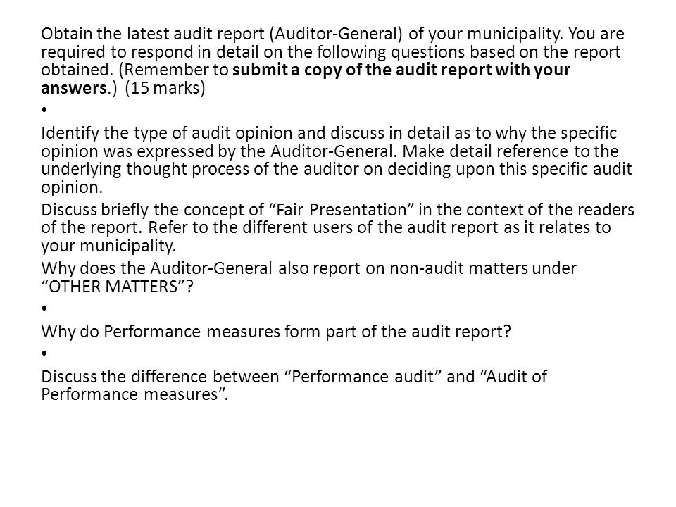 Unit Standard Conduct audit planning and implementation in a – Auditing Report Format