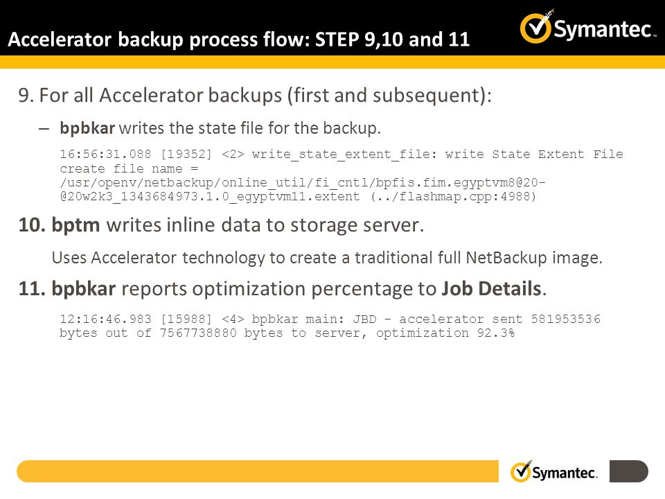 Accelerator backup process flow: STEP 9,10 and 11