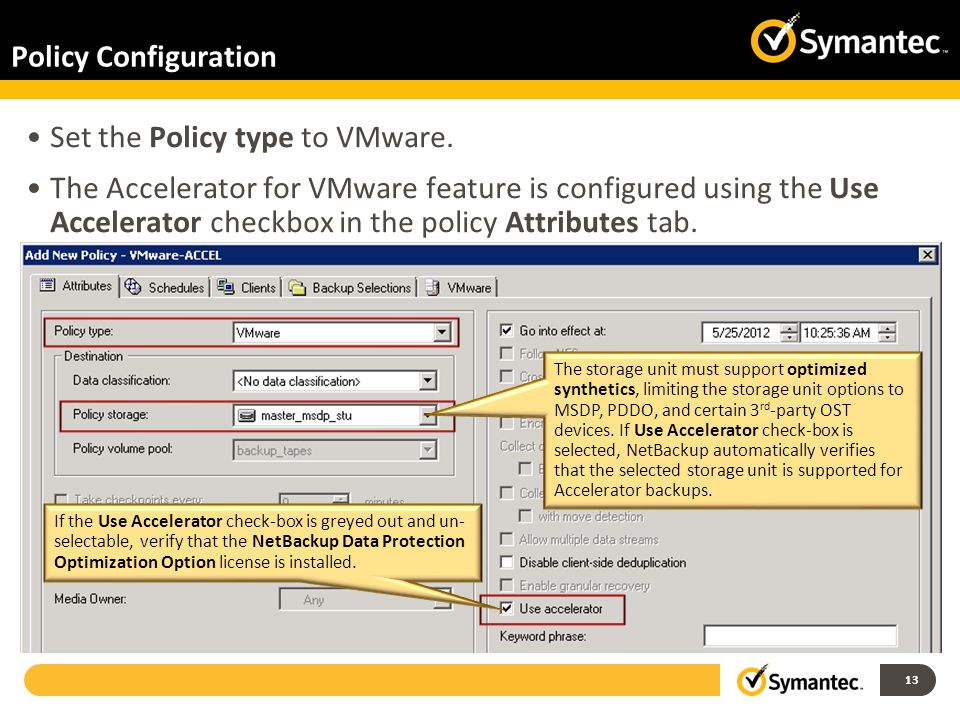 Set the Policy type to VMware.