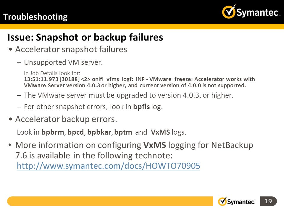Issue: Snapshot or backup failures