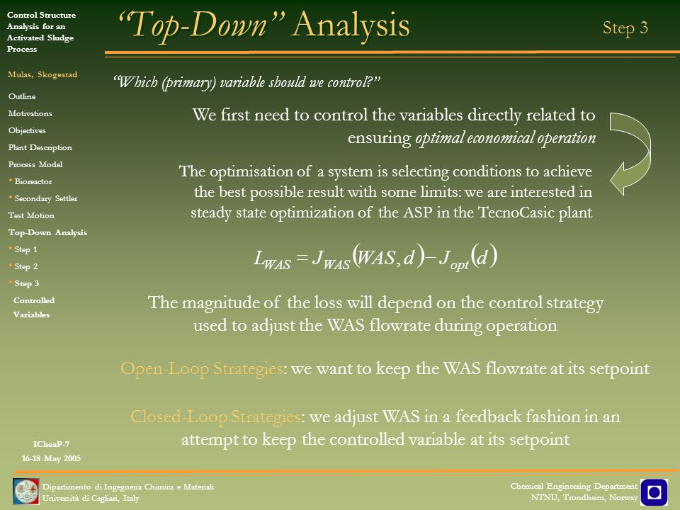 Top-Down Analysis ( ) d J WAS L - = , Step 3