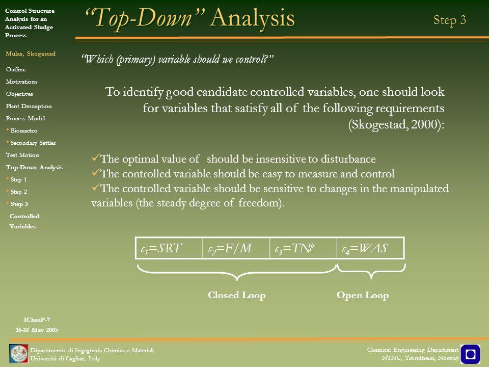 Top-Down Analysis Closed Loop Open Loop Step 3