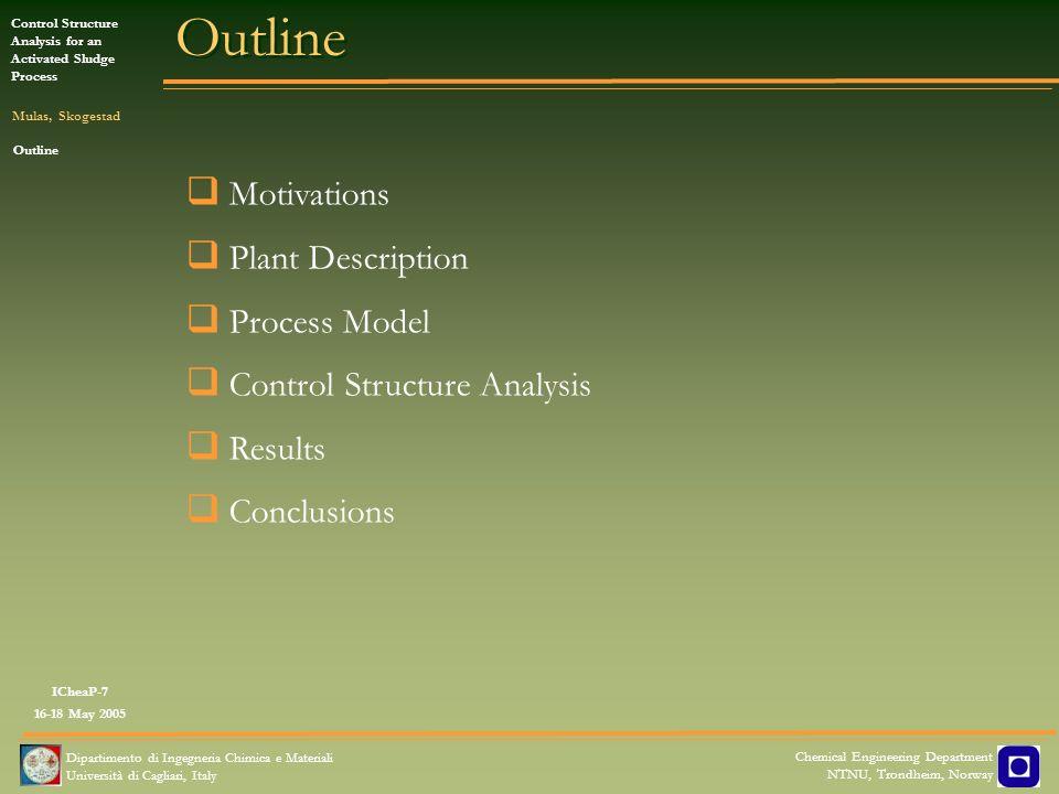 Outline Motivations Plant Description Process Model