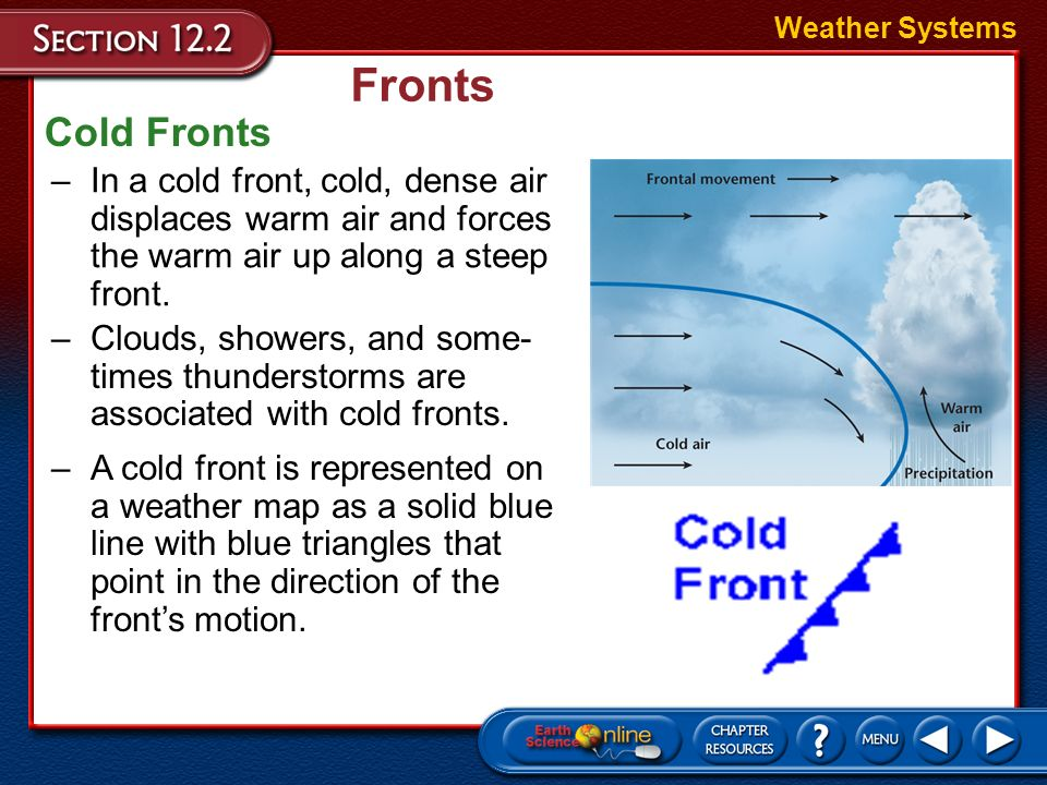 cold fronts and warm fronts Cold front moves up to twice as quickly as warm fronts  a long and backward swinging occluded front is formed which could be a warm front type or cold front type.