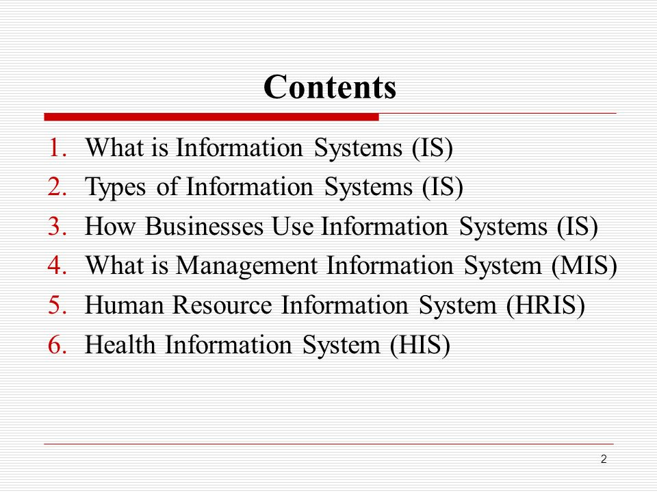 Types of Information Systems in an Organization