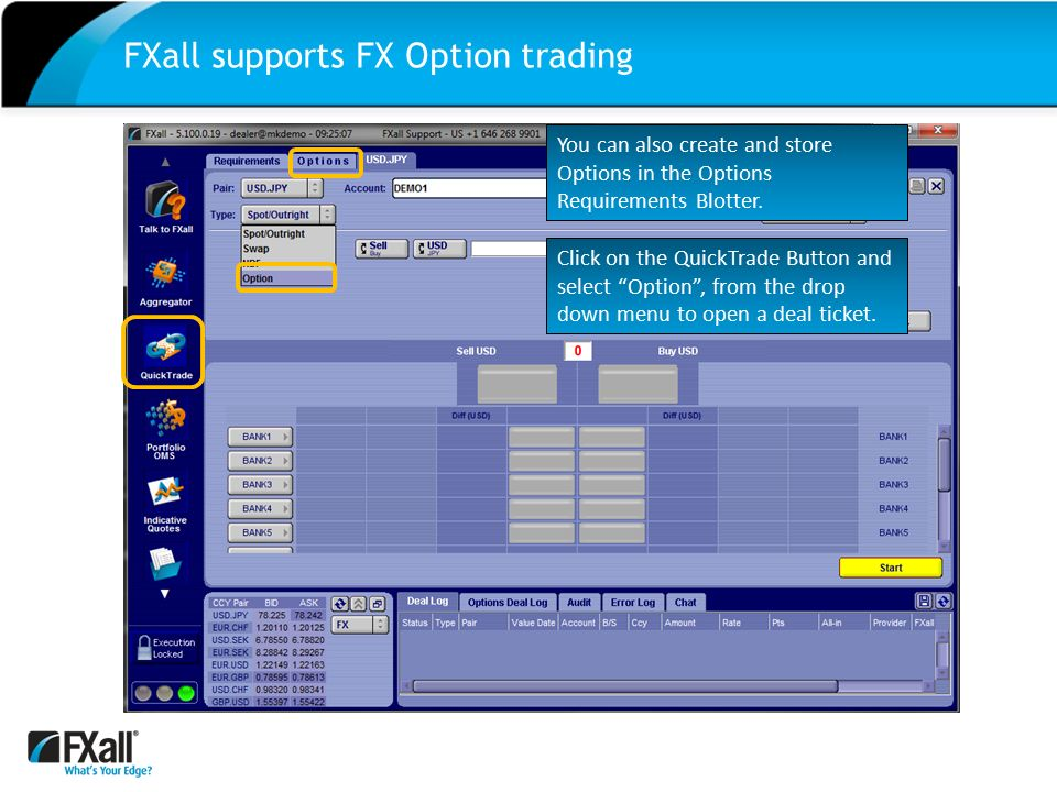 Option trade ticket