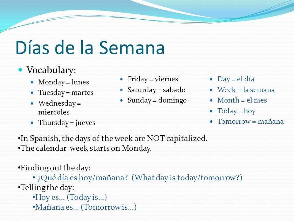 Días de la Semana Vocabulary: