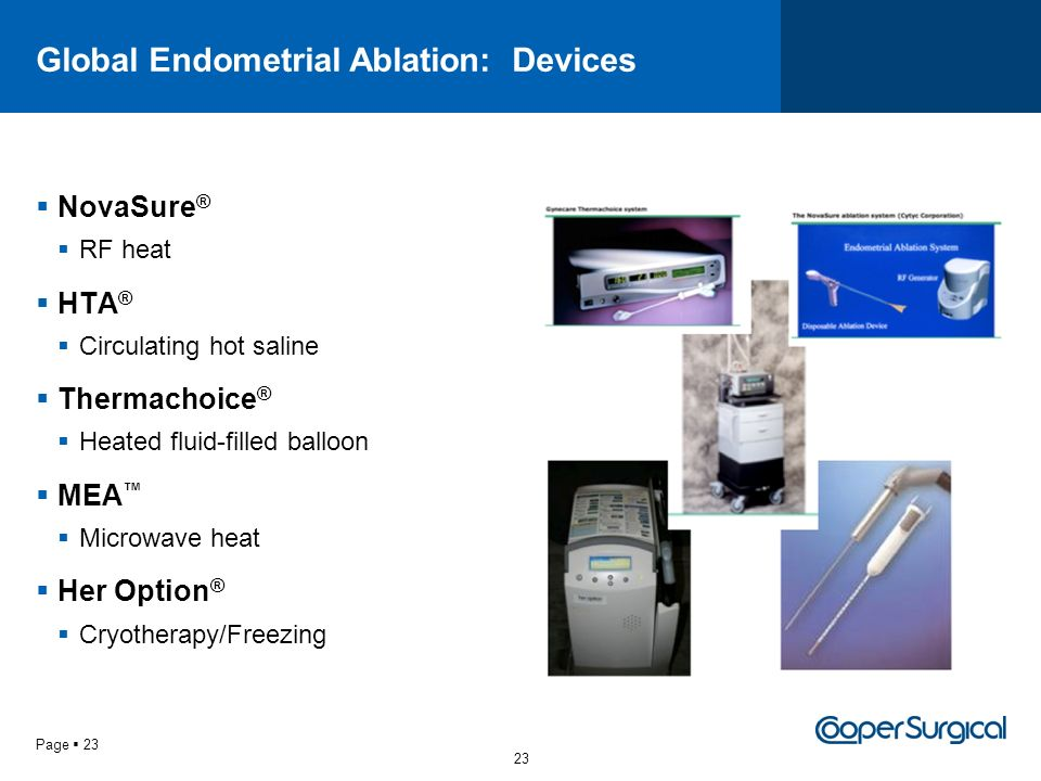 Global Endometrial Ablation: Devices