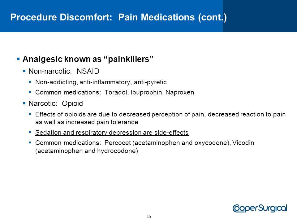 Procedure Discomfort: Pain Medications (cont.)