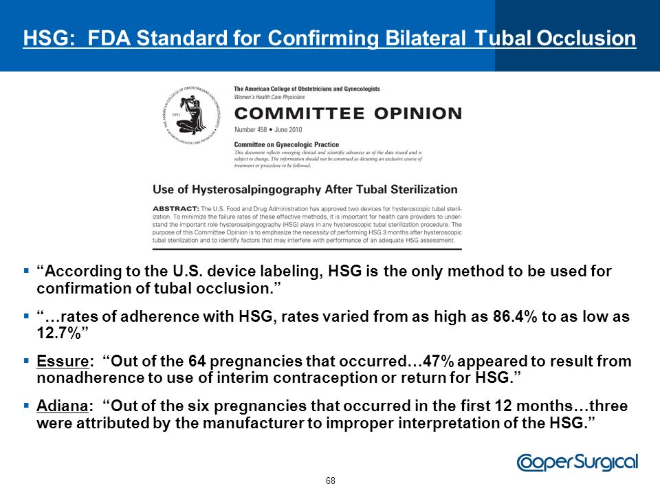 HSG: FDA Standard for Confirming Bilateral Tubal Occlusion