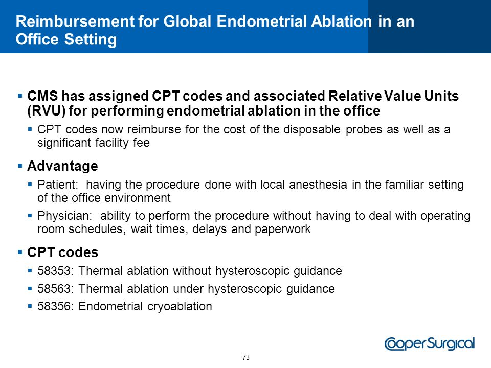 Reimbursement for Global Endometrial Ablation in an Office Setting