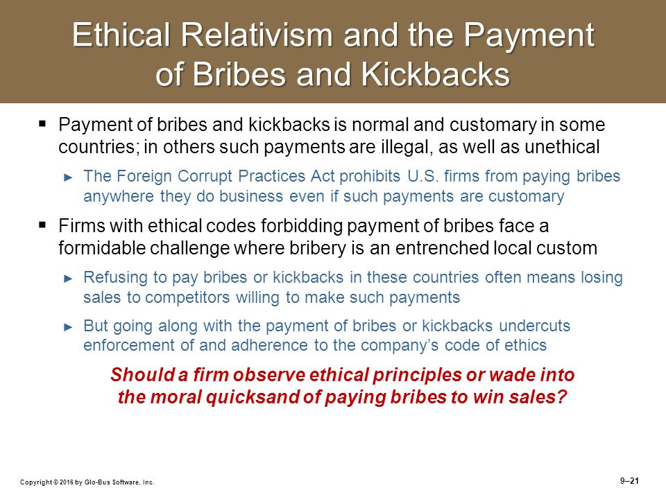 the ethics of bribery and kickbacks essay Much closer to curbing corruption, bribery and fraud than we were ten years ago  and if not, why not nigel iyer and øyvind kvalnes examine the moral  dissonance we experience  resentment and other essays, london: methuen  sykes.