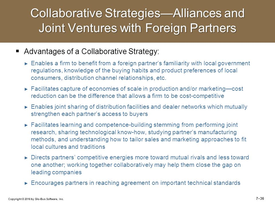 joint ventures and competitive strategy From a strategic standpoint, the implementation of joint ventures can be set up by   tion are important for the firms' joint competitive advantages because such.