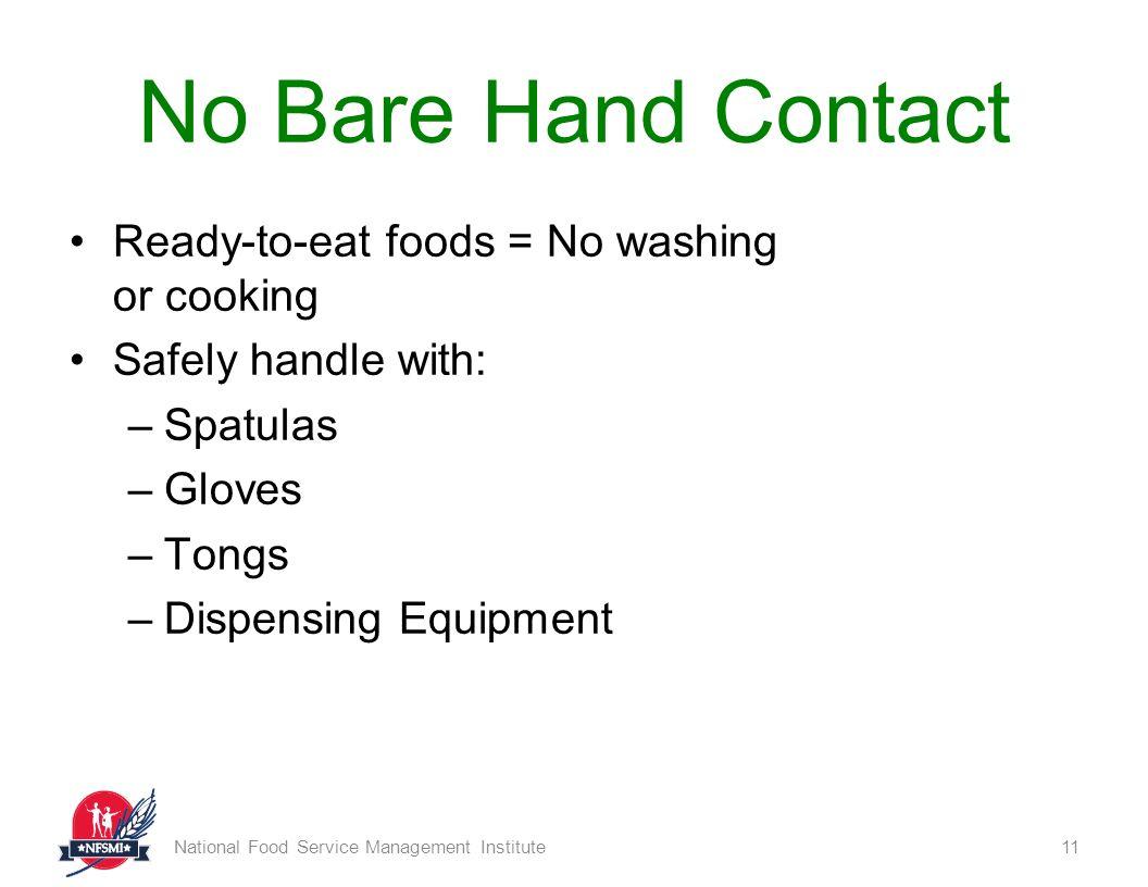 Food Safety Bare Hands ~ Food safety basics national service management