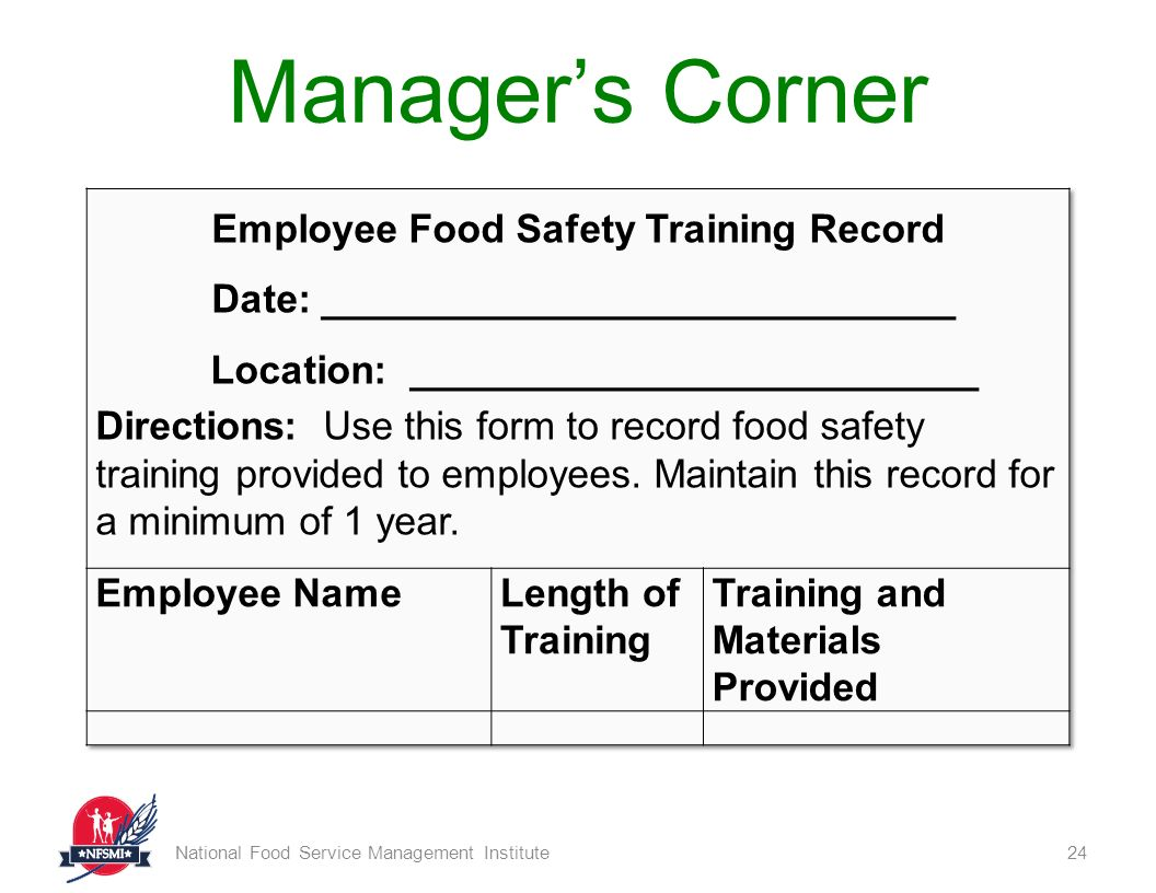 Employee Training Record Form Food Safety Basics National Service Management Institute Ppt