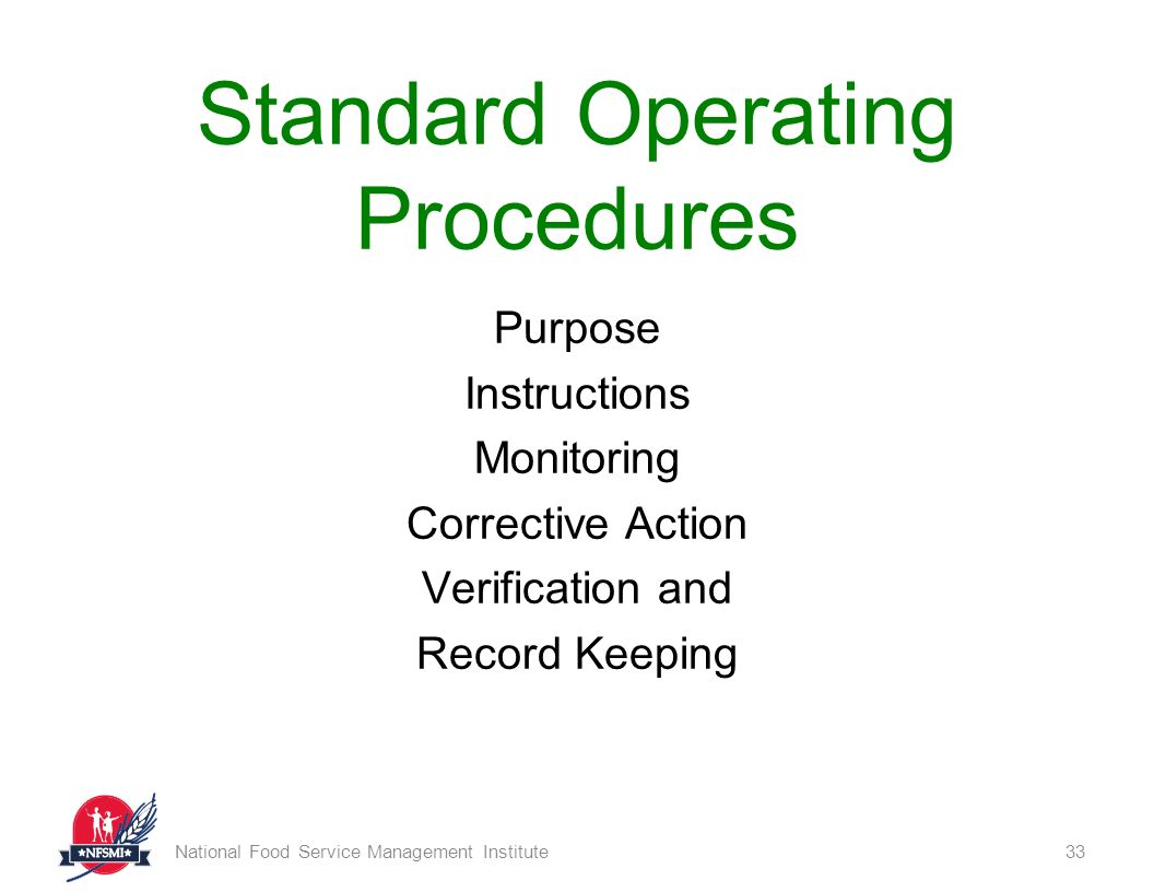 List Of Standard Operating Procedures For Food Safety