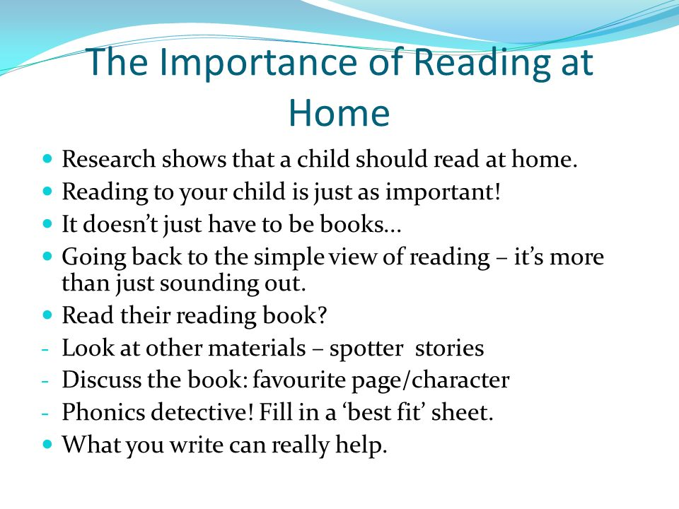 on the importance of reading Reading aloud to young children is the single most effective thing parents can do  to help prepare their children to succeed in school unfortunately.