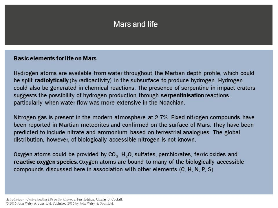 Mars and life Basic elements for life on Mars