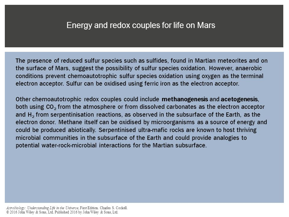Energy and redox couples for life on Mars