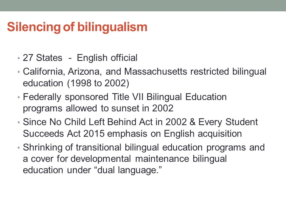 an analysis of the bilingual education act Most schools are tvwo (bilingual preparatory scientific education  bilingual education act  analysis opponents of bilingual education are.