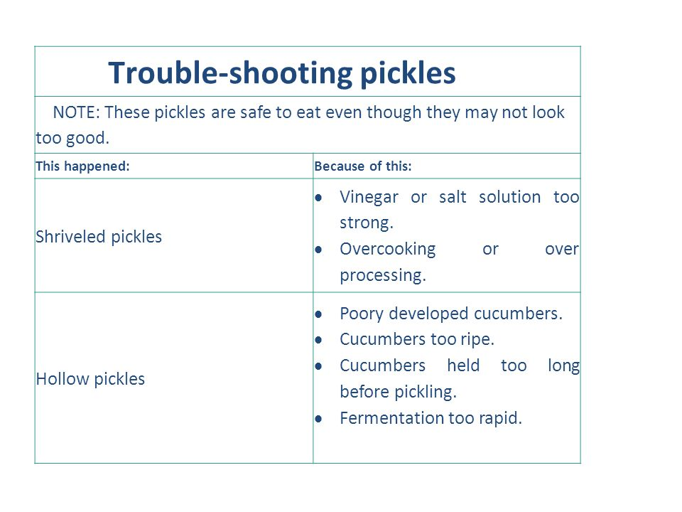 Trouble-shooting pickles