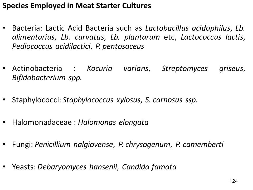 Species Employed in Meat Starter Cultures