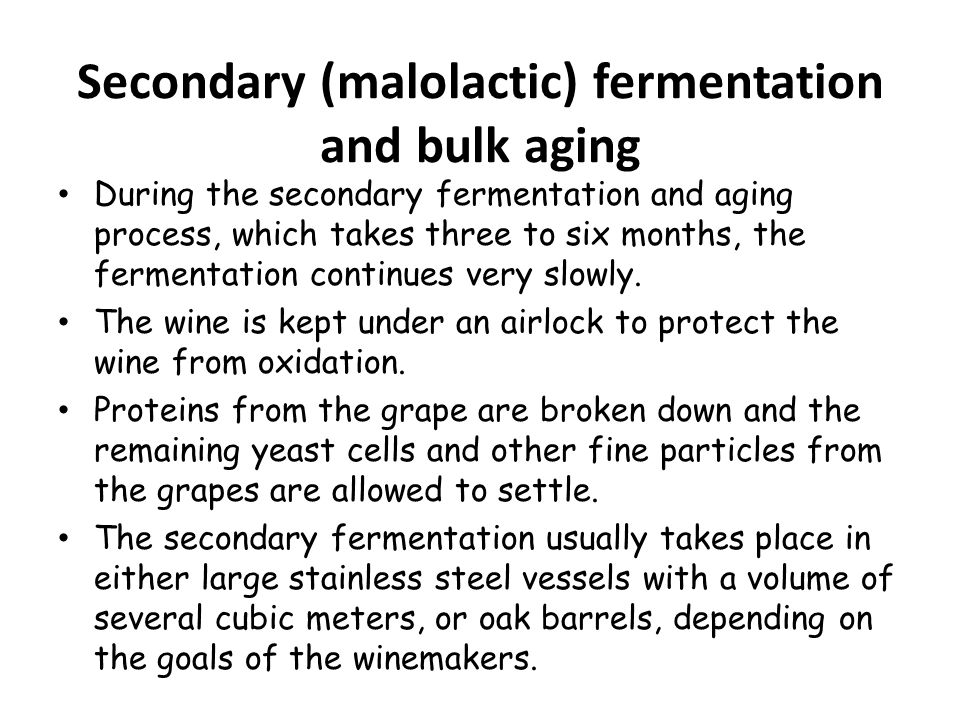 Secondary (malolactic) fermentation and bulk aging
