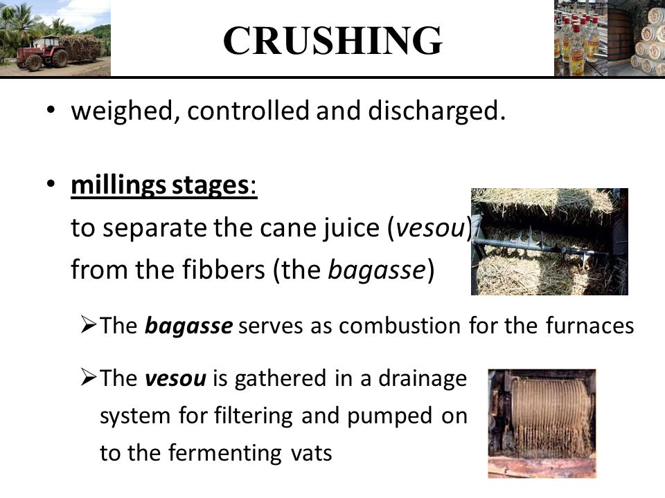 CRUSHING weighed, controlled and discharged. millings stages:
