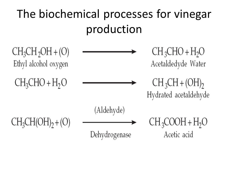 The biochemical processes for vinegar production