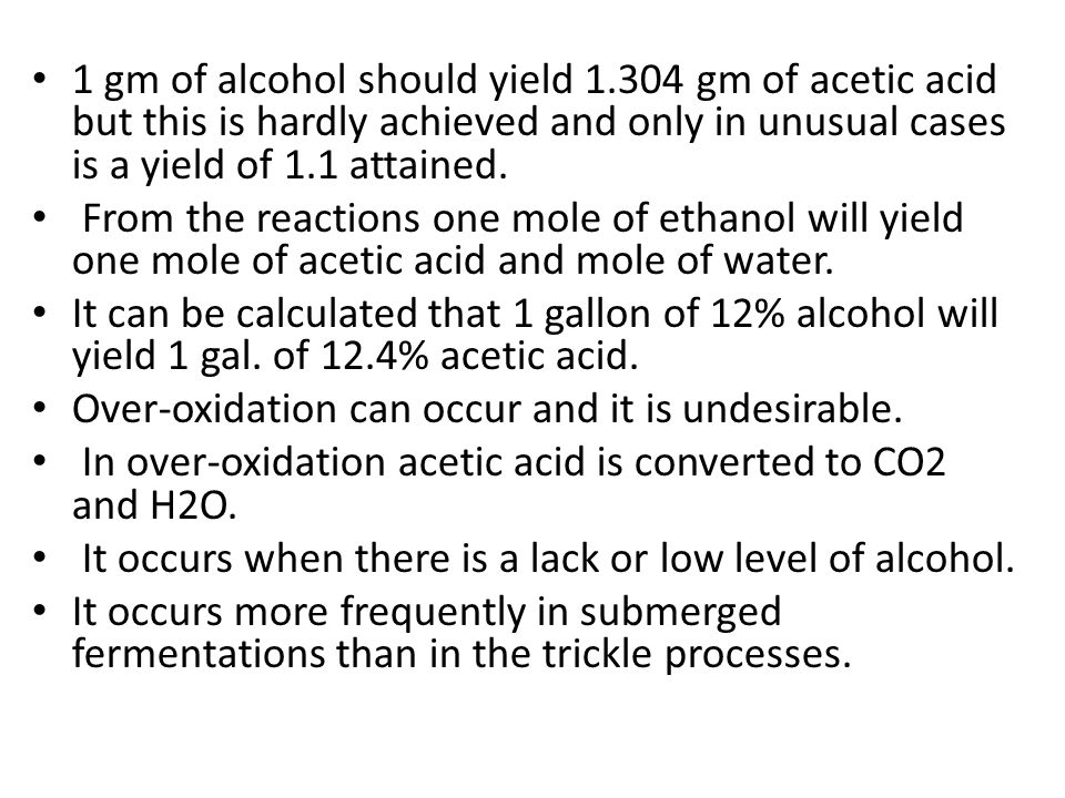 1 gm of alcohol should yield 1