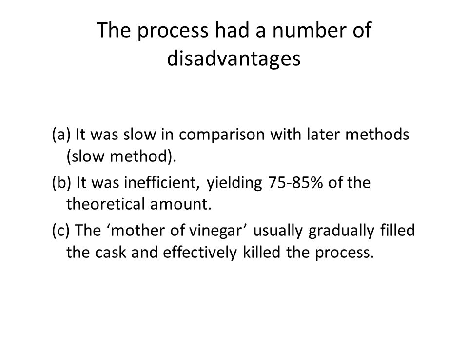 The process had a number of disadvantages