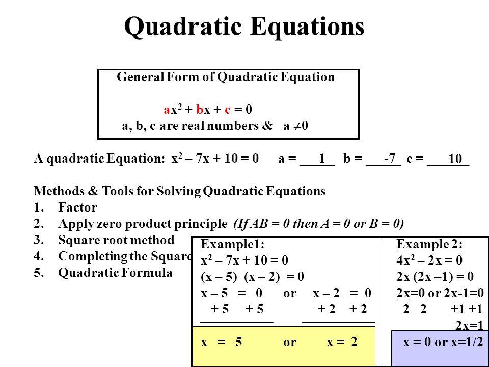 Solve The Following Quadratic Equation For X 2 A B 1 0 - Jennarocca