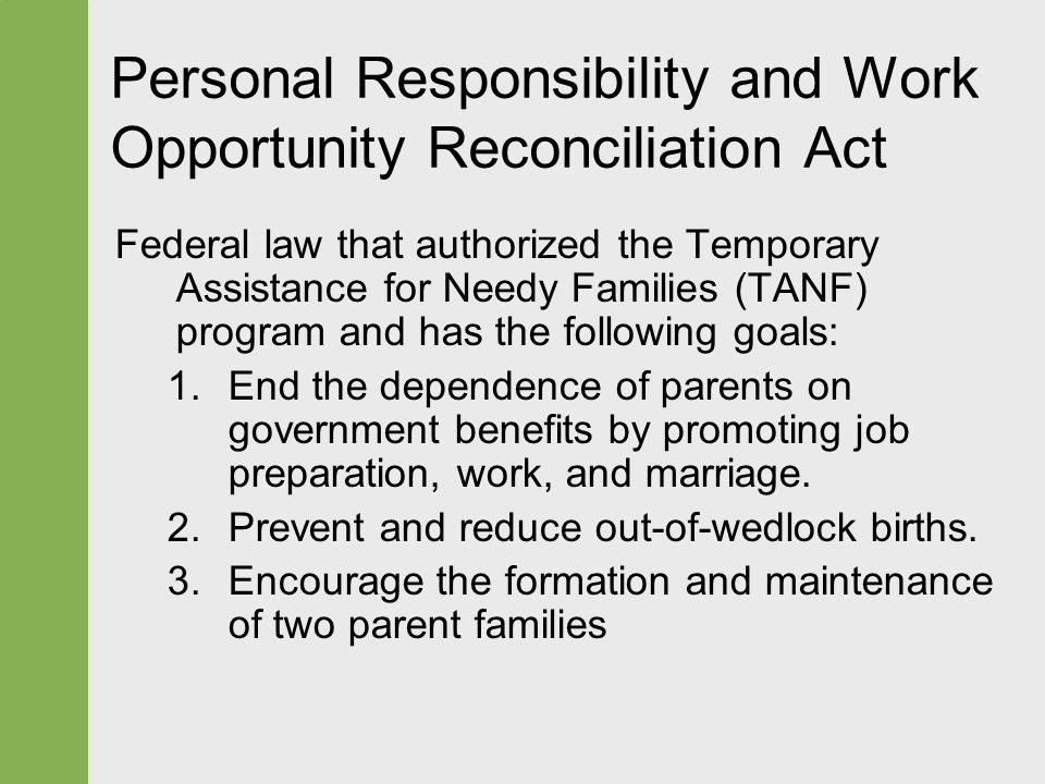 the personal responsibility and work opportunity reconciliation act essay Responsibility and work opportunity reconciliation act  ments that welfare recipients work and sign a personal responsibility  assessing the new federalism.