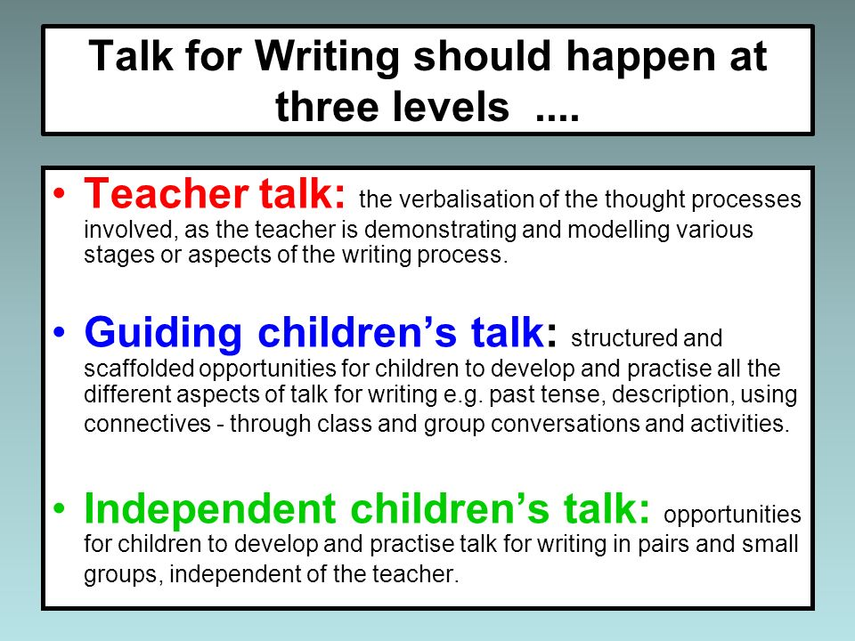 Talk for writing oral stories. Which do you use?