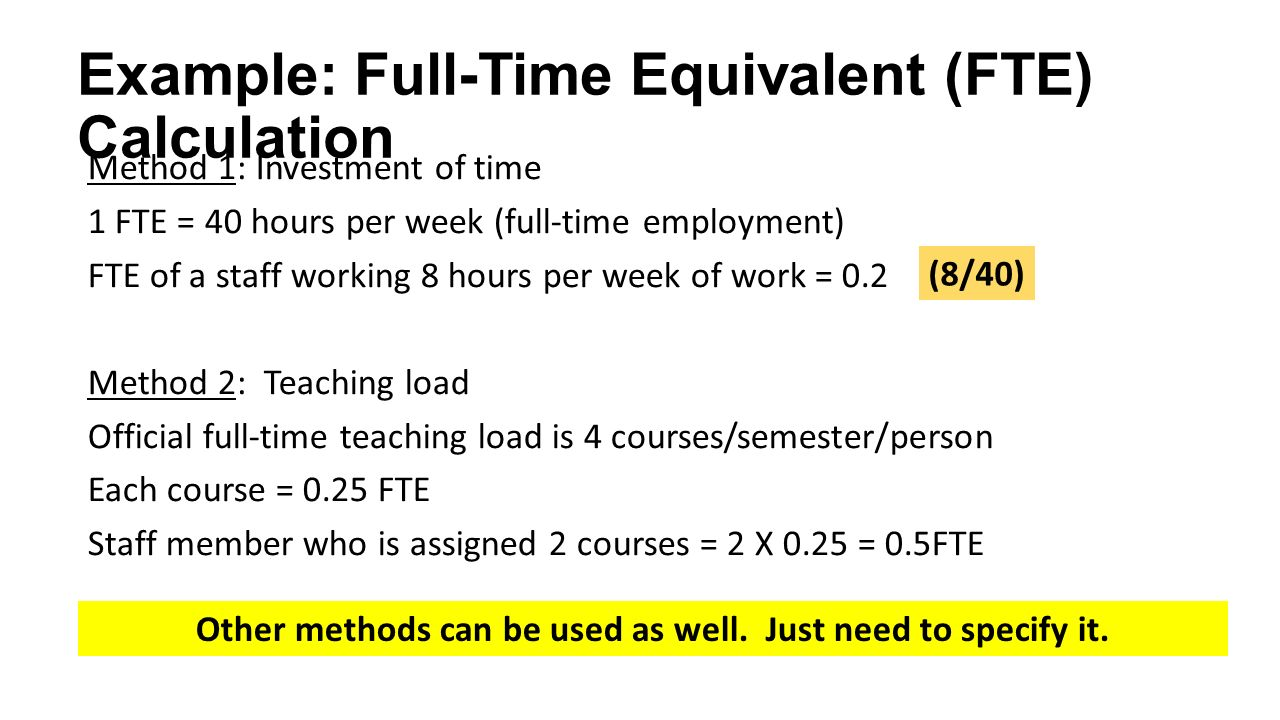 Guide to aun qa assessment at programme level version ppt for Fte calculation template