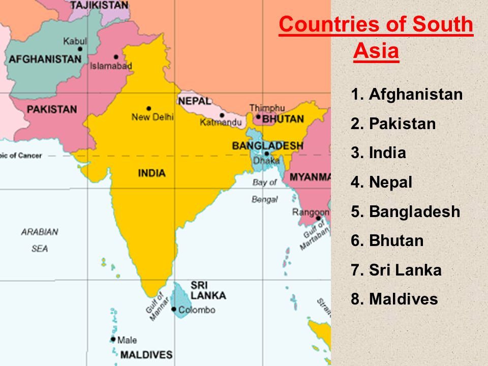 Countries Of South Asia Ppt Video Online Download - South asia political map