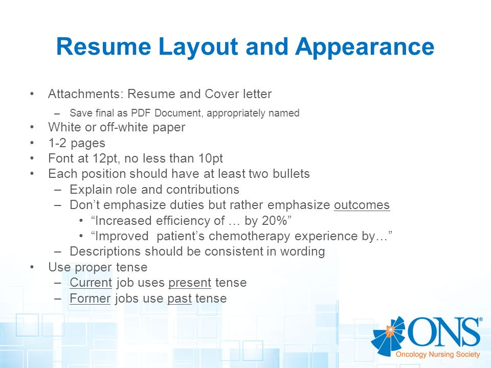 resume in past or present tense