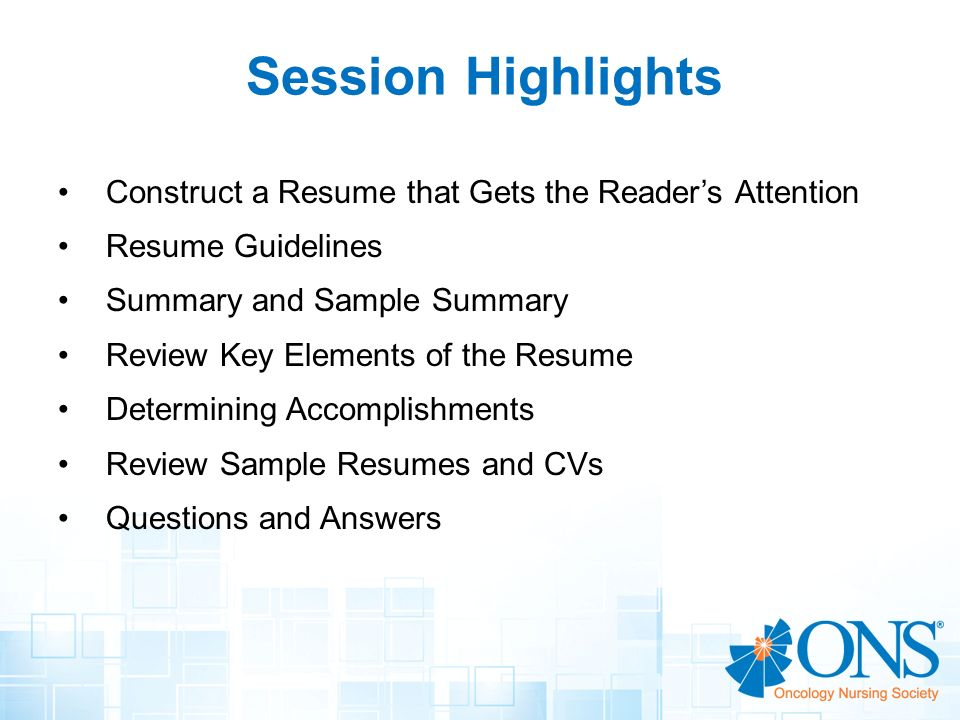 session highlights construct a resume that gets the readers attention - Elements Of A Resume