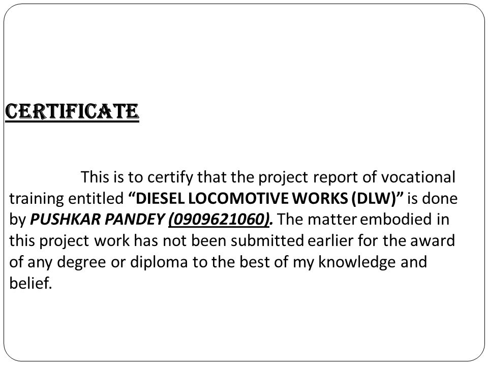certificate for project work