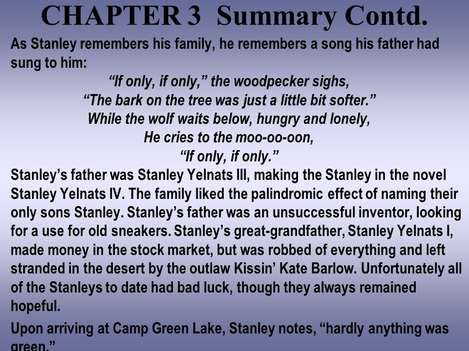 stanley yelnats essay Stanley holes stanley yelnats survival a cursed life, is what stanley believes his black holes and baby universes and other essays word.