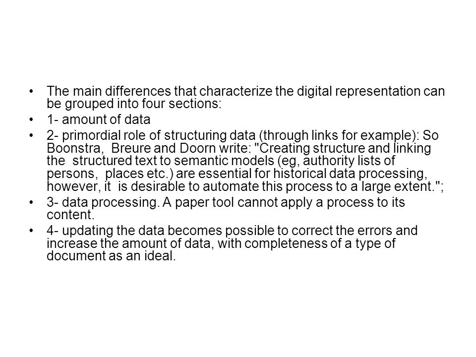 The main differences that characterize the digital representation can be grouped into four sections: